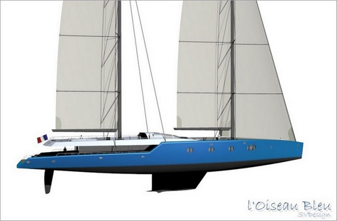 Oiseau Bleu: Three Deck Sailing Yacht Concept