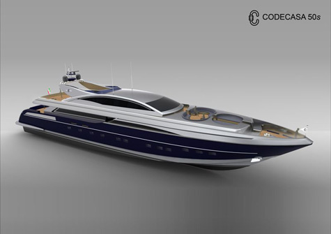 The 50m Superyacht Codecasa 50s: Aggressive Exterior Lines and Luxurious Interior Layout