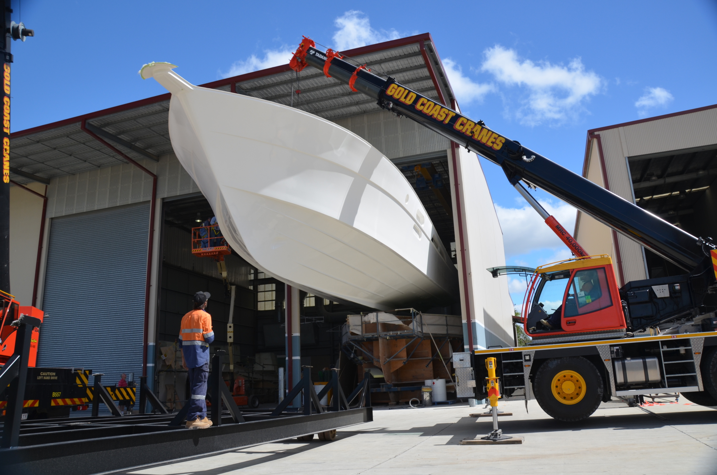 It was a very delicate operation as the 75 hull was lifted from the mould by two 50 tonne cranes