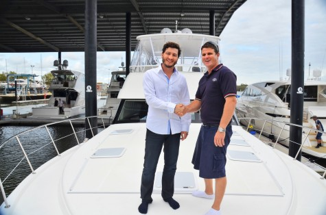 Riviera's Dubai dealer Francesco Pitea sea trialled the new 63 Open Flybridge with Riviera's dealer relationship manager Curt Goldring