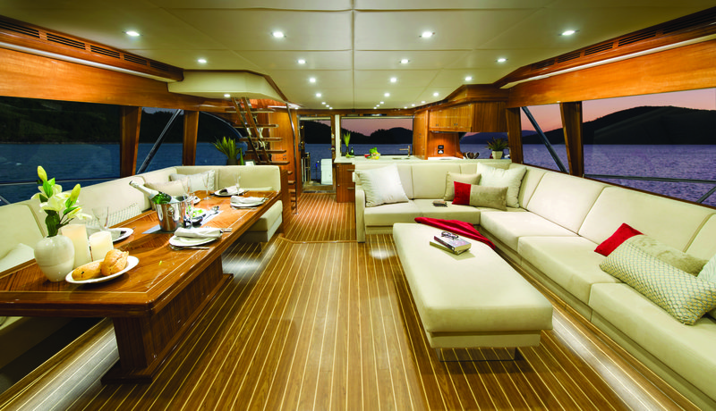 The 75 Enclosed Flybridge is a luxurious on-water entertainer with its spacious saloon offering 360 degree views
