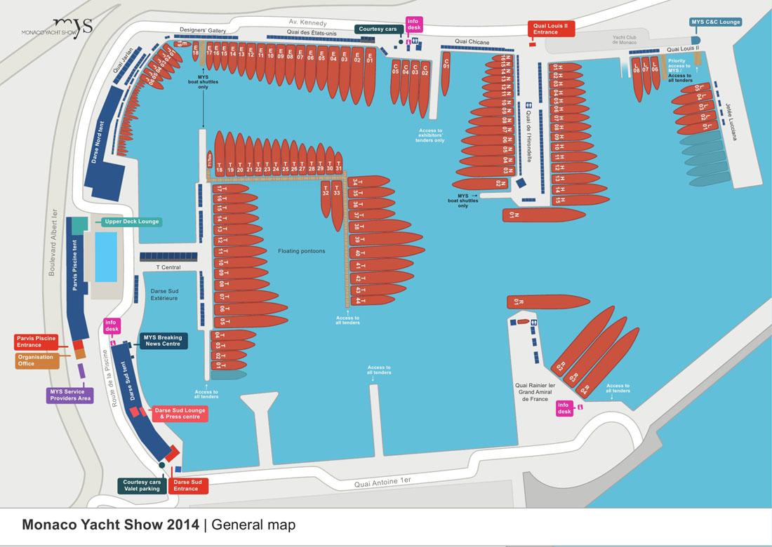 Monako Yacht Show 2014 Map